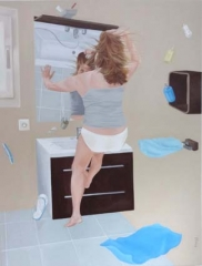 apesanteur - femme à la toilette, 2015