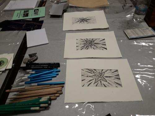 Stage de gravure sur carton, animation d'exposition